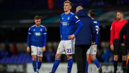 Flynn Downes looks dejected after Town's defeat to Bristol Rovers back in December. Picture: STEVE W