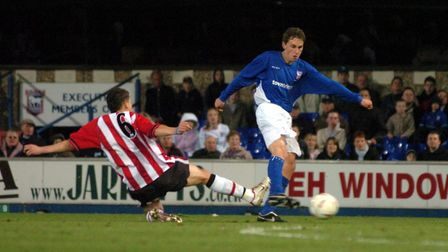 Ed Upson fires the winner for Town in the 2005 FA Youth Cup Final. Picture: ARCHANT
