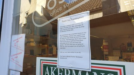 A sign thanking customers of the store has been placed in the window of the branch Picture: ARCHANT