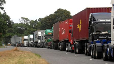 Operation Stack causes lorries in the Levington area to queue up alongside the road Picture: ARCHANT