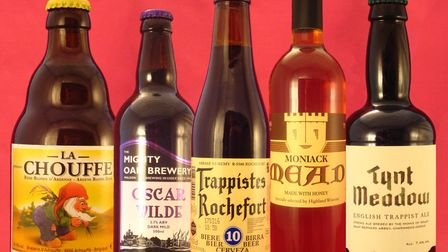[From left to right] La Chouffe, Mighty Oak Brewing Co. Oscar Wilde Mild, Trappistes Rochefort 10, M