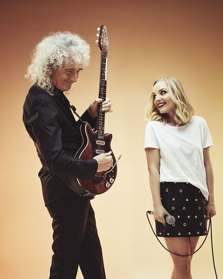 Kerry Ellis is back in the studio with her pal Brian May . Picture: ANDREW WHITTON