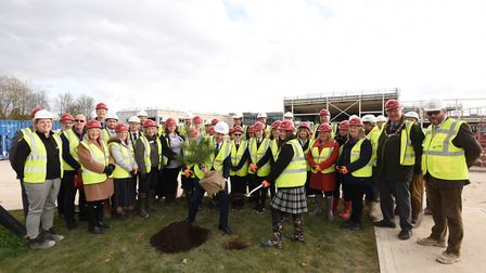 Health Secretary and West Suffolk MP Matt Hancock joined project partners for a topping out with a t