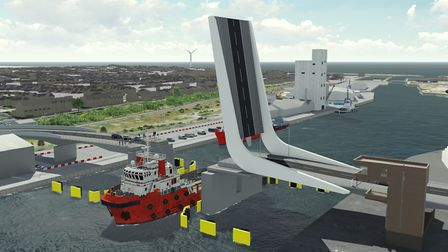 An CGI design of the Lake Lothing third crossing in Lowestoft. Picture: SUFFOLK COUNTY COUNCIL