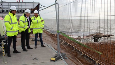 Clacton MP Giles Watling visited the pier to see the repairs being carried out after stormy weather
