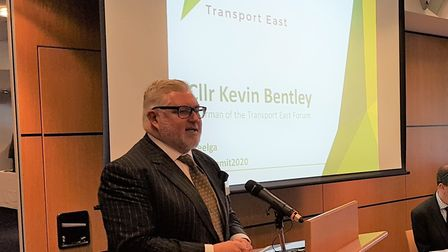 Kevin Bentley at the Transport East Summit in Ipswich. Picture: PAUL GEATER