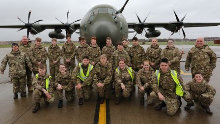 The Suffolk Army cadets in front of a C-130 Hercules on the trip to RAF Brize Norton. Picture: JOHN
