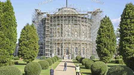 The view from the gardens of Ickworth of the roof enclosed by scaffolding. Picture: JIM WOOLF