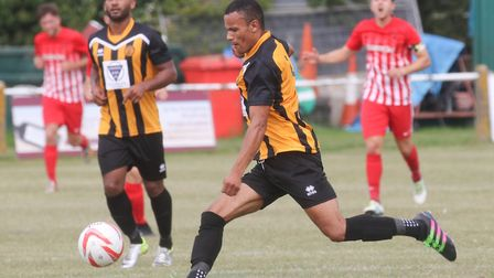 Jemel Fox, in action for one of his forrmer clubs Stowmarket Town, has signed as a player-coach for
