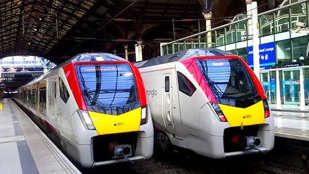 Two of Greater Anglia's new Intercity trains at Liverpool Street. The company now has four in servic