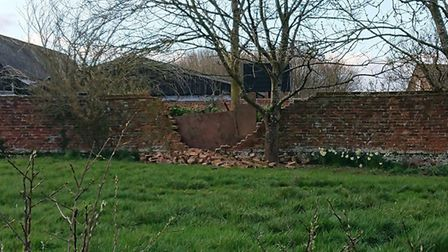 The partially-collapsed crinkle-crankle wall at Great Waldingfield. Picture: CLARE KIELY