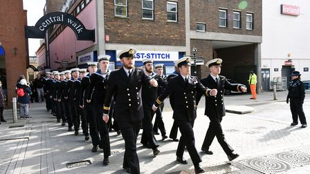 HMS Vengeance exercises its Freedom of Bury St Edmunds with a parade through the town centre. Pictur