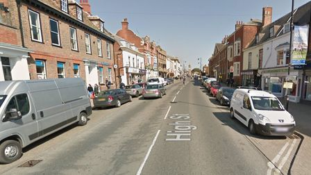 A car and a motorbike have crashed in Newmarket High Street. Picture: GOOGLE