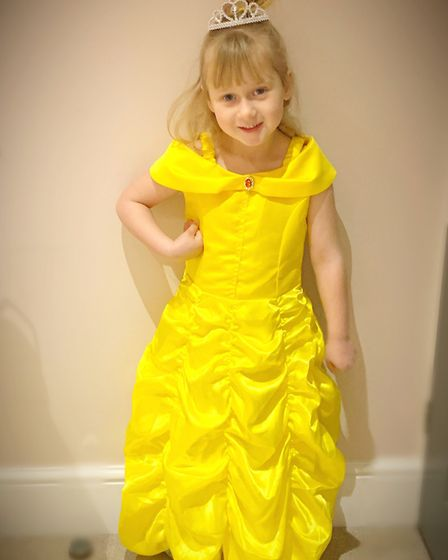 Poppi Preston, age 5, dressed up as Belle from Beauty and the Beast Picture: SUSIE PRESTON