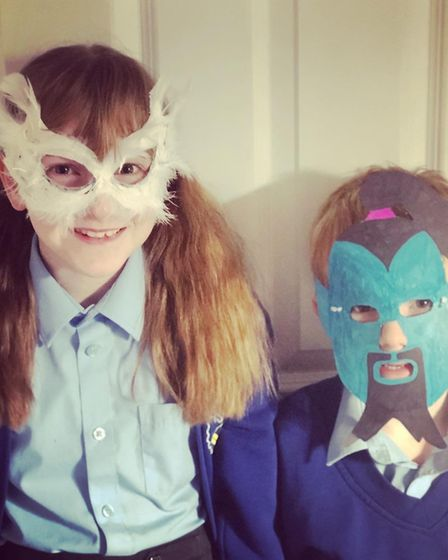 Rhiannon and Bradley Rosser, Age 9 and 6, with their Hedwig and Genie masks Picture: KERRIE ROSSER