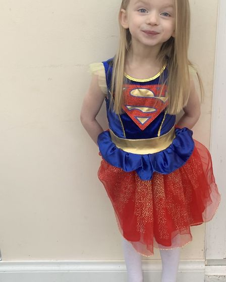 Skylar, age 3, dressed up as Supergirl Picture: JENNY MAYHEW
