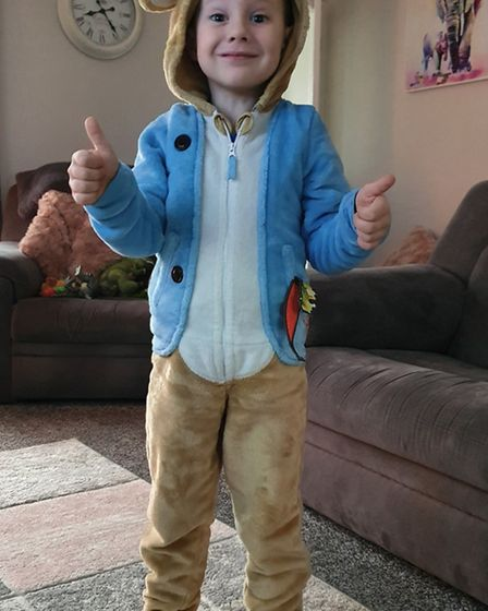 Stanley Lamb, aged 4, dressed as Peter Rabbit Picture: MICHELLE LAVER