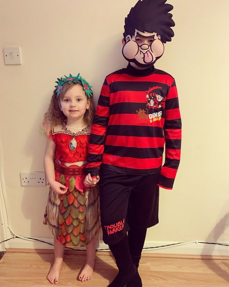 Summer-Rose and Tayler, ages 3 and 8, dressed as Moana and Dennis the Menace Picture: TANYA WAGSTAF