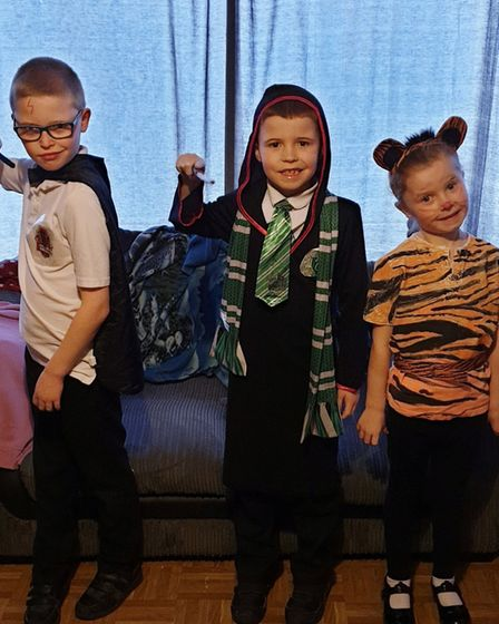 Ryley, Joshua and Kyla-Marie Allen dressed as Harry Potter, Tom Riddle and The Tiger Who Came to Tea