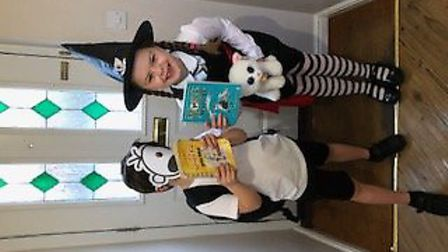 Millie and Henry Ashworth, age 9 and 6, dressed up as Mildred Hubble from the Worst Witch and Greg H