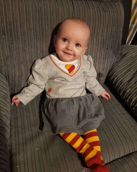 Alice Lynch, aged 7 months old, dressed as Hermione Granger from Harry Potter Picture: SAFFRON CLEM