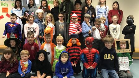 Teachers and students at Charsfield Primary School all dressed up to celebrate World Book Day Pictu