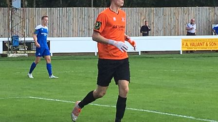 Bury Town keeper, Dan Barden, in action on his debut against Basildon at the start of the season. Ba
