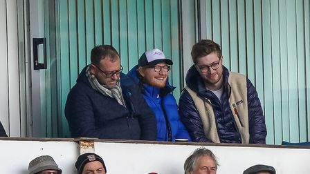 Ed Sheeran (centre) at the Coventry game. Picture Steve Waller www.stephenwaller.com