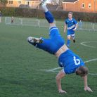 Head over heels! Brantham Athletic's player-manager Michael Brothers celebrates a goal. Picture: ELL