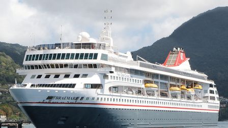 Braemar docked in Dominica. Picture: FRED. OLSEN CRUISE LINES