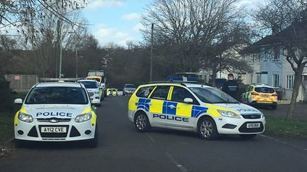 A large police presence has been spotted in Pleasant Avenue, Haverhill Picture: CLARE REEVE