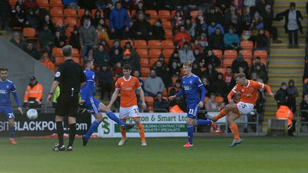 The home side take the lead through Kiernan Dewsbury-Hall at Blackpool. Picture Pagepix Ltd