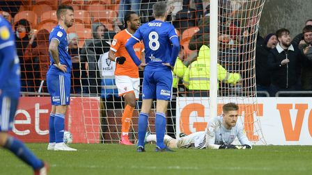 Tomas Holy is down after the last gasp loss at Blackpool. Picture Pagepix Ltd