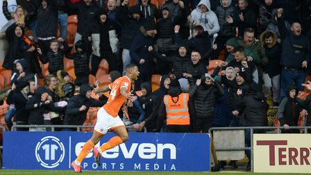 Joe Nuttall celebrates his late winner against Ipswich at Blackpool. Picture Pagepix Ltd