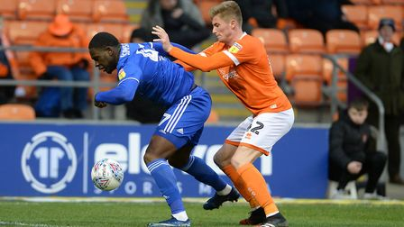 Tyreece Simpson in action as a second half sub during the last gasp defeat at Blackpool. Picture Pag