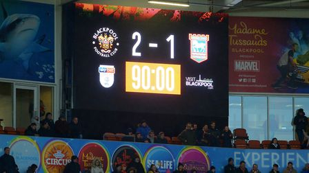 The final scoreline at Blackpool. Picture Pagepix Ltd