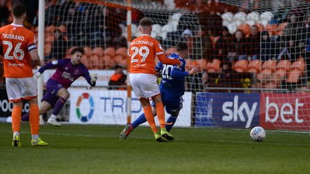 Freddie Sears has a great chance but was it a penalty at Blackpool. Picture Pagepix Ltd