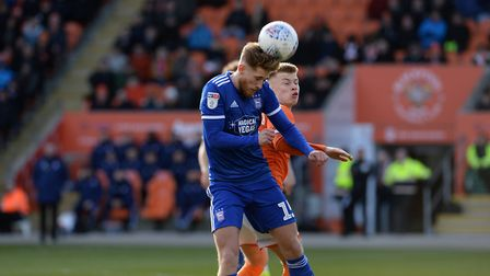 Teddy Bishop gets to the ball first at Blackpool. Picture Pagepix Ltd