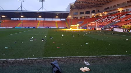 The Bloomfield Road pitch at full-time on Saturday. Picture: ANDYWARREN