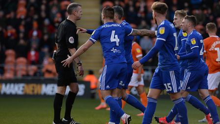 Town appeal for a penalty at Blackpool. Picture Pagepix Ltd