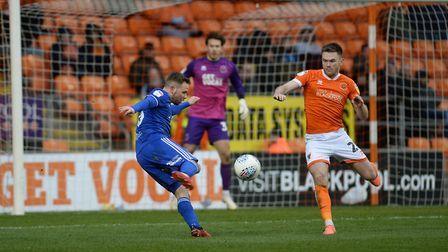 Alan Judge spurns a volley chance during the second half at Blackpool. Picture Pagepix Ltd