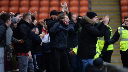 Town fans celebrate during the second half at Blackpool. Picture Pagepix Ltd