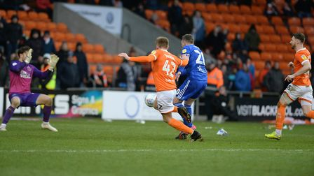 Freddie Sears is denied late on by a block by Blackpool keeper Chris Maxwell. Picture Pagepix Ltd