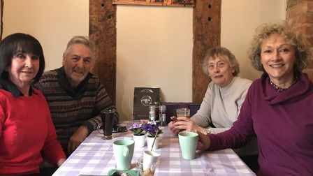 June and David Frost with Sheila Burrows and Sharon Res. A coffee shop is returning to Ixworth High