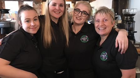 Staff Molly, Libby, Hannah and Angie. A coffee shop is returning to Ixworth High Street after being