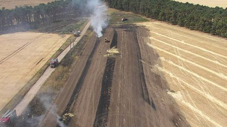 A drone photograph of a field fire in July 2018 Picture: SUFFOLK FIRE AND RESCUE