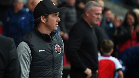 Joey Barton and Paul Lambert on the touchline at Fleetwood earlier in the season. Picture Pagepix