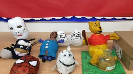 SpiderSpud and a potato Winne The Pooh came to play for Creeting St Mary's World Book Day Picture: C
