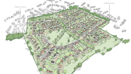 An artist's impression of the planned housing development in Reydon Picture: BROWN AND CO.