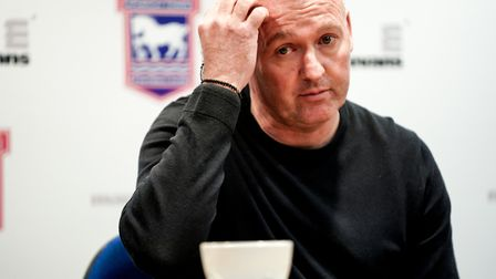 Town manager Paul Lambert pictured during his post match press conference following the Fleetwood de